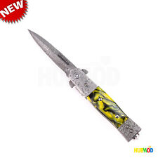 "8"" TAC-FORCE DAMASCUS Spring Assisted Folding Pocket Knife Stiletto Clip Breaker"