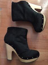 Sigerson Morison Black Cork Black Sheepskin Booties Size 6