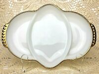Fire King Anchor Hocking Milk Glass Serving Platter Gold Trim Oven Ware USA