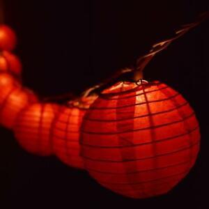 "Red Round Paper Lantern Party String Lights (4"" Lanterns, 8FT Black Cord)"