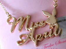 "Playboy Necklace ""Miss April"" Gold set with Gem Stone"