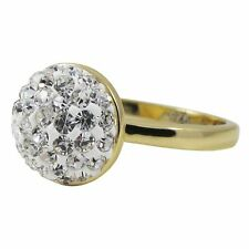 White Pave Crystals Shamballa Inspired Yellow Gold-Tone Sterling Silver Ring (4)