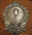 """Vintage Nickel Metal Mine Clearance Service 3.5"""" Cap Badge aa KINGS CROWN WW2"""