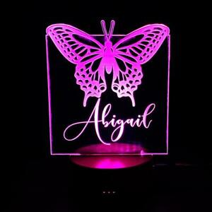Personalised Butterfly Design Gift Lamp Night Light Kids Bedroom LM-12