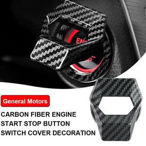 Car Carbon Fiber Accessories Engine Start Stop Push Button Switch Cover Trim