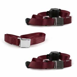 Desoto 1946 - 1961  Airplane 3pt BURG Bench Seat Belt Kit - 3 Belts