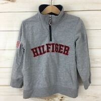 Tommy Hilfiger Boys Gray Spell-Out American Flag Patch 1/4 Sweatshirt. Size 4