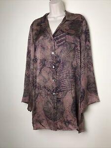 English Eccentrics 100% Silk Size 10 Oversized Button Down Brown Top