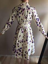 CAROLINA HERRERA Orchid Print Silk Trench Coat Sz.6  Made in Italy