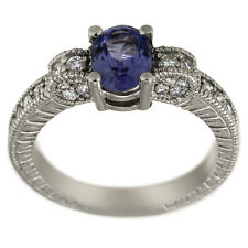 Tanzanite Ring In 14k White Gold With Milgran Decoration And Diamond Accents