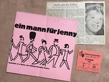 "Program Booklet ""A Man For Jenny"" Inge meysel 1967 Euro Studio-TICKET + criticism"