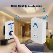 Mini LED Wireless Chime Door Bell Doorbell Cordless Remote Control 32 Tune Songs