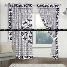 Indian Elephant Mandala Cotton Curtain Door Drapes Hanging Window Valances Set