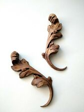 Beautifull French Wood Carved Leaves Vintage Furniture Applique Onlay Pair 2 Set