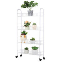 4 Tiers Gap Storage Organizer Rack Shelf with Wheels Mesh Rolling Organization