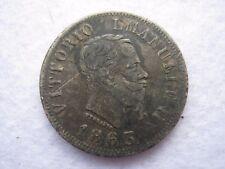 1863 BN Italy 5 centesimi silver coin (252)