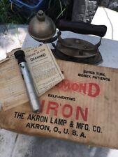ANTIQUE AKRON LAMP CO DIAMOND SELF HEATING IRON W/BOX & Pump