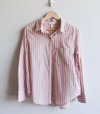 H&M Size 14 Blush Pink 100% Cotton Striped Long Sleeve Button Collar Top