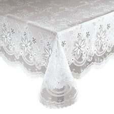 "Vinyl Lace Table Cover Tablecloth 60"" x 90"" Oblong Dining Kitchen Tabletop"