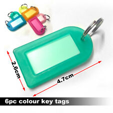 6 Plastic Key Tags Assorted Key Rings ID Tags Name Card Fob Label Lot