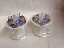 Antique Candle Sticks, Art Glass, Venetian, hand blown, opeline w/purple grapes