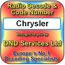 Chrysler Dodge Jeep Radio Code Decode Unlock Service by Serial Number