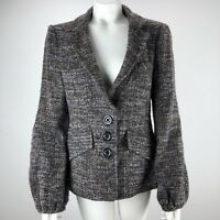 Nanette Lepore Women's Sz 10 Button Wool Blend Tweed Like Jacket Blazer Brown