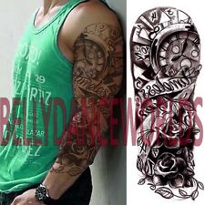 WHOLE ARM FULL HAND TEMPORARY TATTOO TIMELESS CLOCK ROSE BODY TRANSFER STICKER