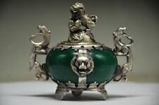 CHINESE OLD TIBETAN SILVER DRAGON INLAID JADE HANDMADE CARVED LION INCENSE BURNE