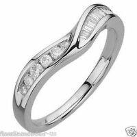 0.25carat Round & Baguette Cut Diamonds Half Eternity Wedding Ring in 18K Gold