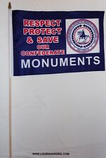 "LOT OF 12 SAVE OUR MONUMENTS 12X18 INCH FLAGS ON 30"" STAFF - CSA DIXIE"