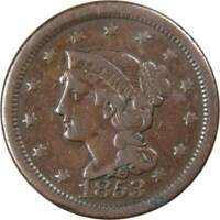 1853 1c Braided Hair Large Cent Penny US Coin VG Very Good