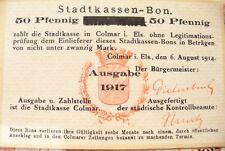 ANCIEN BILLET RARE - STADTKASSEN-BON  COLMAR  1917 - 50 PFENNIG SURCHARGE