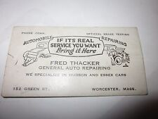 Vintage Fred Thacker Automobile Repairing Worcester MA Hudson Business Card