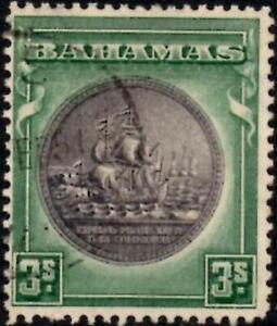 Bahamas 1943  3/- Brownish Black & Green   SG.132a Used