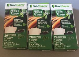 20 ct FoodSaver 1-Quart Precut Vacuum Seal Bags BPA - NEW