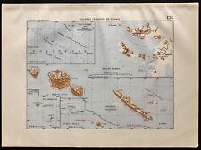 1880 - Carte ancienne des colonies françaises en Océanie