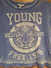 New Look Talla 10 Azul joven salvaje y libre Camiseta Blanco delgada de verano de socorro