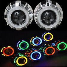 "2x 2.5""HID Bi-xenon Projector len Kit H1 Bulb ballast 6000K Angel Devil Eye Halo"