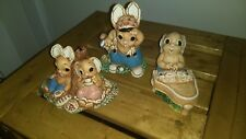 Lot 3 Vintage Global Art Woodlander Rabbits Painted Stoneware Mereside England