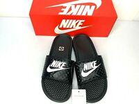 NIB SIZES 8-12 WOMEN Nike Benassi JDI Logo Slides BLACK WHITE Sandals Slippers