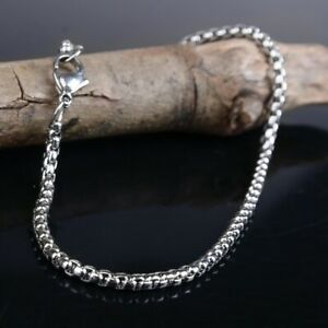 Boys Men Silver Stainless Steel Square Bracelet Bangle Wristband Curb Cuff Chain