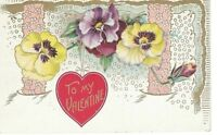 Postcard Valentine's Day Embossed Yellow Purple Pansy Flowers Red Heart Germany