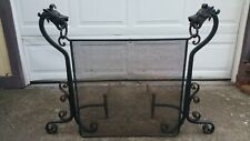 1920's Wrought Iron Dragon Andirons with Fire Screen. Rare Size 36''