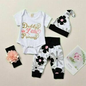 4Pcs Set Newborn Baby Girls Floral Tops Romper Long Pants Hat Outfits Clothes