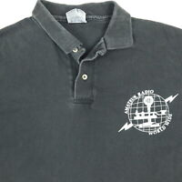 Vintage 90s Amateur Radio World Wide Polo Shirt LARGE Nicely Faded Vtg Black