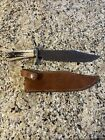 ABS John White Custom Fixed Blade Damascus Bowie Knife with Stag Handles /Sheath