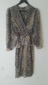 Vintage Boho 50s Leopard Print Secretary Midi Tea Dress Size 14 Work 80s Party