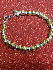 Metal Bead Stretch Fashion Bracelet Pretty Shiny Gold And Silver Colored