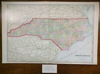 "Vintage 1903 NORTH CAROLINA Map 22""x14"" ~ Old Antique CAMDEN LEXINGTON YORK"